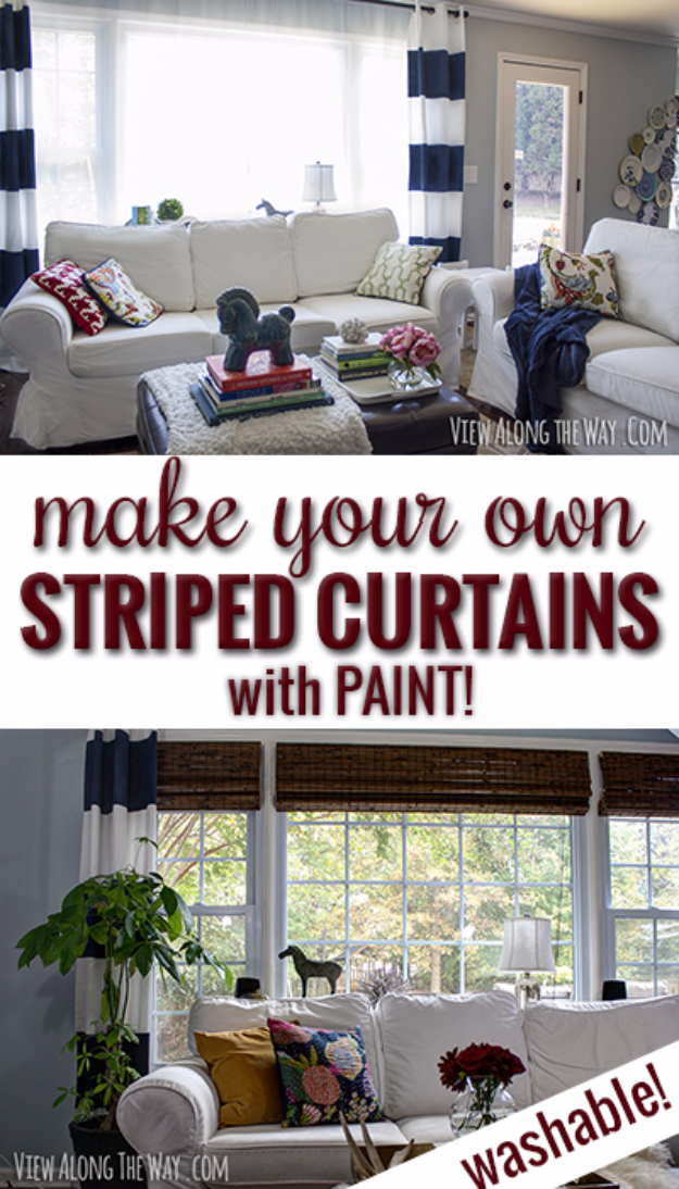 50 DIY Curtains and Drapery Ideas - Make Your Own Striped Curtains With Paint - Easy No Sew Ideas and Step by Step Tutorials for Drapes and Curtain Ideas - Cheap and Creative Projects for Bedroom, Living Room, Kitchen, Kids and Teen Rooms - Simple Draperies for Fabric, Made Out of Sheets, Blackout Curtains and Valances #sewing #diydecor #drapes #decoratingideas