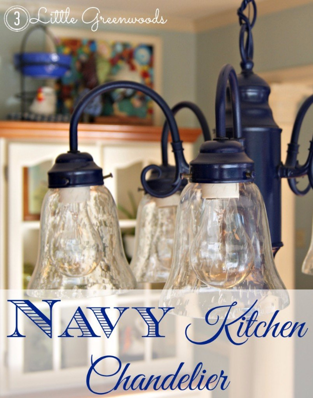 DIY Chandelier Ideas and Project Tutorials - Navy Kitchen Chandelier - Easy Makeover Tips, Rustic Pipe, Crystal, Rustic, Mason Jar, Beads. Bedroom, Outdoor and Wedding Girls Room Lighting Ideas With Step by Step Instructions