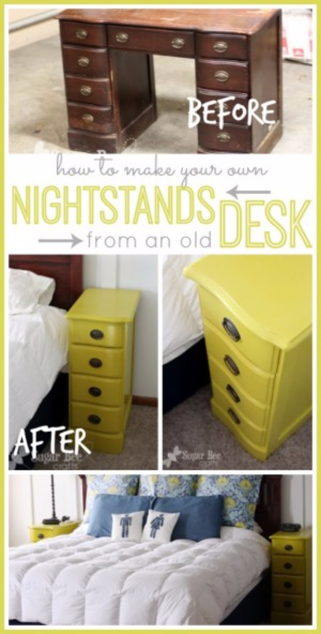 Upcycled Furniture Projects - Nightstands From A Desk - Repurposed Home Decor and Furniture You Can Make On a Budget. Easy Vintage and Rustic Looks for Bedroom, Bath, Kitchen and Living Room. #upcycled #diyideas #diyfurniture