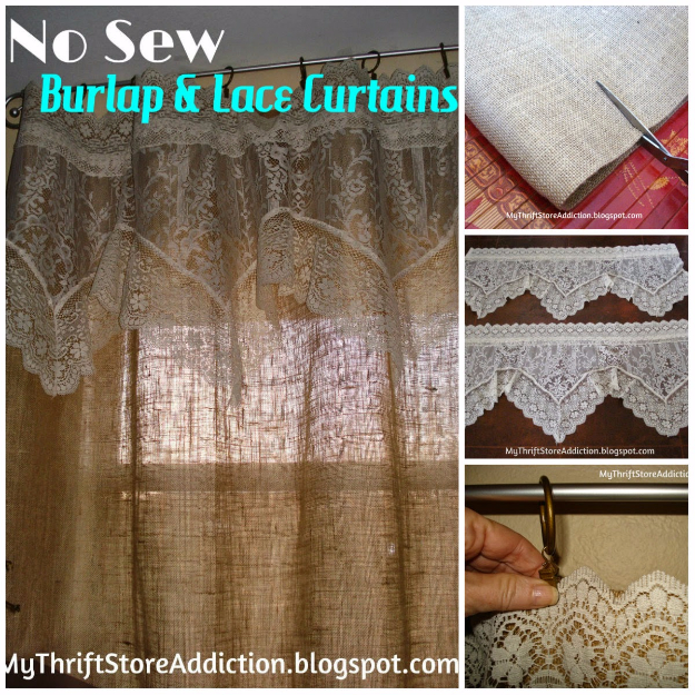 50 DIY Curtains and Drapery Ideas - No Sew Burlap And Lace Curtains - Easy No Sew Ideas and Step by Step Tutorials for Drapes and Curtain Ideas - Cheap and Creative Projects for Bedroom, Living Room, Kitchen, Kids and Teen Rooms - Simple Draperies for Fabric, Made Out of Sheets, Blackout Curtains and Valances #sewing #diydecor #drapes #decoratingideas