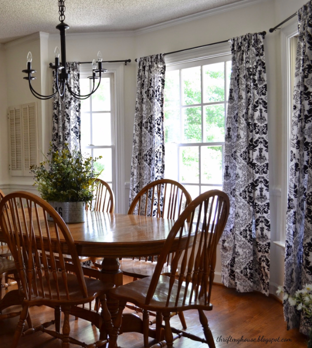 50 DIY Curtains and Drapery Ideas - No Sew Dining Room Turned Bedroom Curtains - Easy No Sew Ideas and Step by Step Tutorials for Drapes and Curtain Ideas - Cheap and Creative Projects for Bedroom, Living Room, Kitchen, Kids and Teen Rooms - Simple Draperies for Fabric, Made Out of Sheets, Blackout Curtains and Valances #sewing #diydecor #drapes #decoratingideas