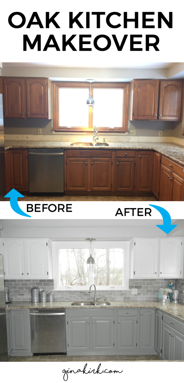 DIY Kitchen Makeover Ideas - Oak Kitchen Makeover - Cheap Projects Projects You Can Make On A Budget - Cabinets, Counter Tops, Paint Tutorials, Islands and Faux Granite. Tutorials and Step by Step Instructions