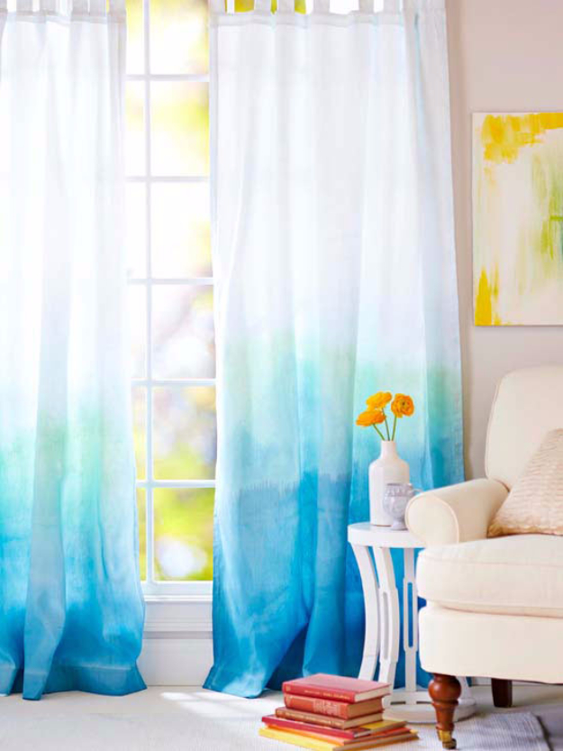 40 DIY Ways to Dress Up Boring Windows - Ombre Drapes - Cool Crafts and DIY Ideas to Make Awesome Bedrooms, Living Room Decor - Easy No Sew Ideas, Cheap Ideas for Makeovers, Painting and Sewing Tutorials With Step by Step Instructions for Awesome Home Decor http://diyjoy.com/diy-window-ideas