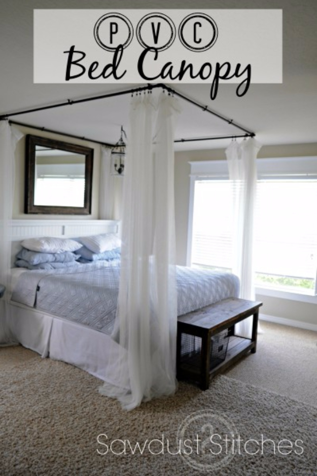 Shabby Chic Decor and Bedding Ideas - PVC Bed Canopy - Rustic and Romantic Vintage Bedroom, Living Room and Kitchen Country Cottage Furniture and Home Decor Ideas. Step by Step Tutorials and Instructions http://diyjoy.com/diy-shabby-chic-decor-bedding
