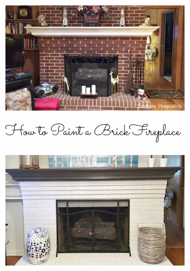 32 DIY Paint Techniques and Recipes - Paint A Brick Fireplace - Cool Painting Ideas for Walls and Furniture - Awesome Tutorials for Stencil Projects and Easy Step By Step Tutorials for Painting Beautiful Backgrounds and Patterns. Modern, Vintage, Distressed and Classic Looks for Home, Living Room, Bedroom and More