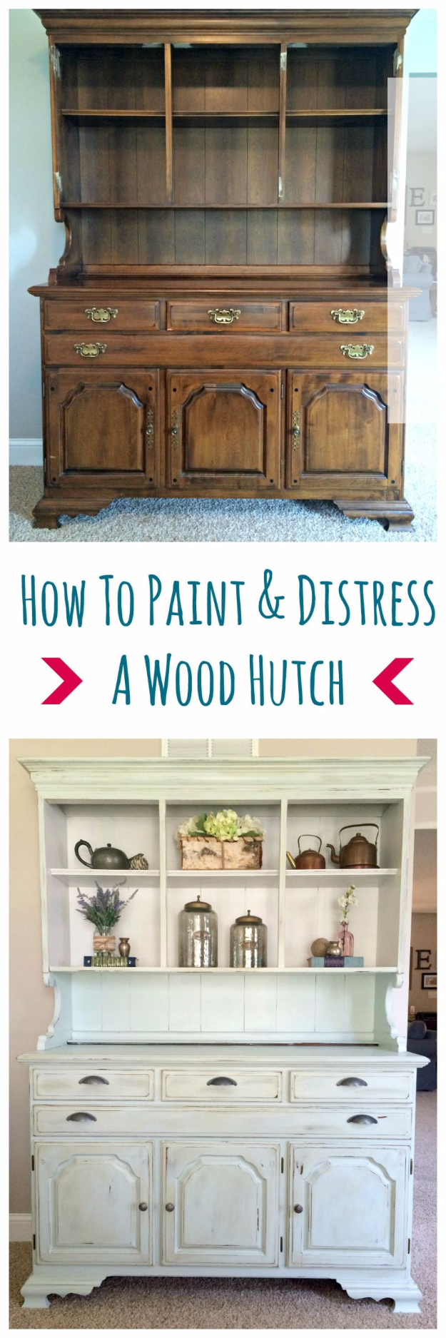 32 DIY Paint Techniques and Recipes - Paint And Distress A Wood Hutch - Cool Painting Ideas for Walls and Furniture - Awesome Tutorials for Stencil Projects and Easy Step By Step Tutorials for Painting Beautiful Backgrounds and Patterns. Modern, Vintage, Distressed and Classic Looks for Home, Living Room, Bedroom and More