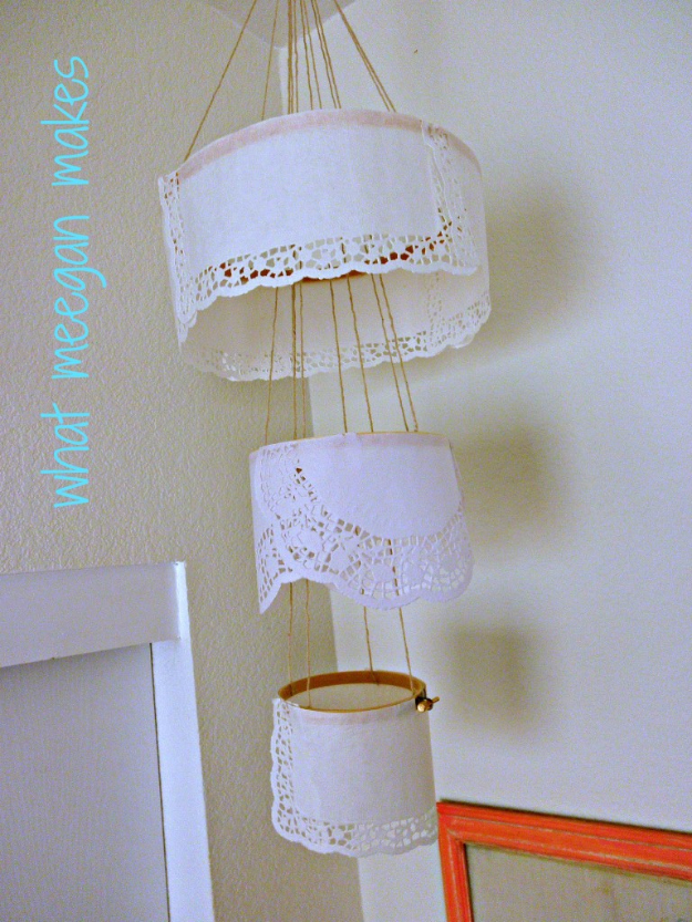 DIY Chandelier Ideas and Project Tutorials - Paper Doily Chandelier - Easy Makeover Tips, Rustic Pipe, Crystal, Rustic, Mason Jar, Beads. Bedroom, Outdoor and Wedding Girls Room Lighting Ideas With Step by Step Instructions