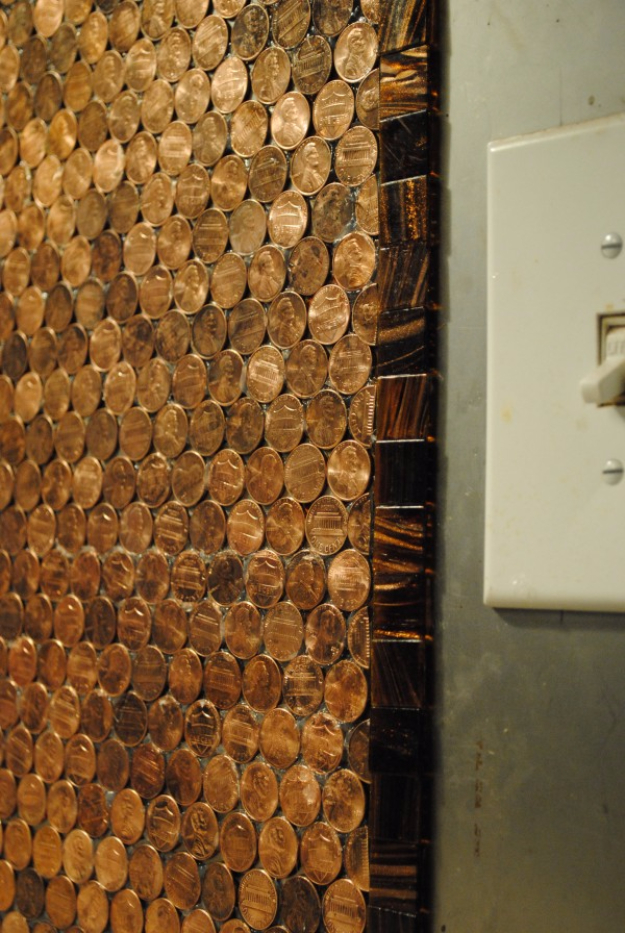 40 diys made from pennies dollar bills money for Kitchen penny backsplash