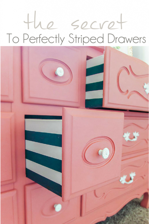 DIY Furniture Refinishing Tips - Perfectly Striped Drawers - Creative Ways to Redo Furniture With Paint and DIY Project Techniques - Awesome Dressers, Kitchen Cabinets, Tables and Beds - Rustic and Distressed Looks Made Easy With Step by Step Tutorials - How To Make Creative Home Decor On A Budget