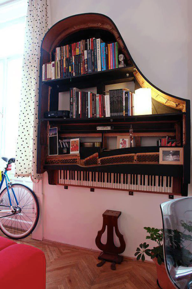 Upcycled Furniture Projects - Piano Bookcase DIY - Repurposed Home Decor and Furniture You Can Make On a Budget. Easy Vintage and Rustic Looks for Bedroom, Bath, Kitchen and Living Room. #upcycled #diyideas #diyfurniture