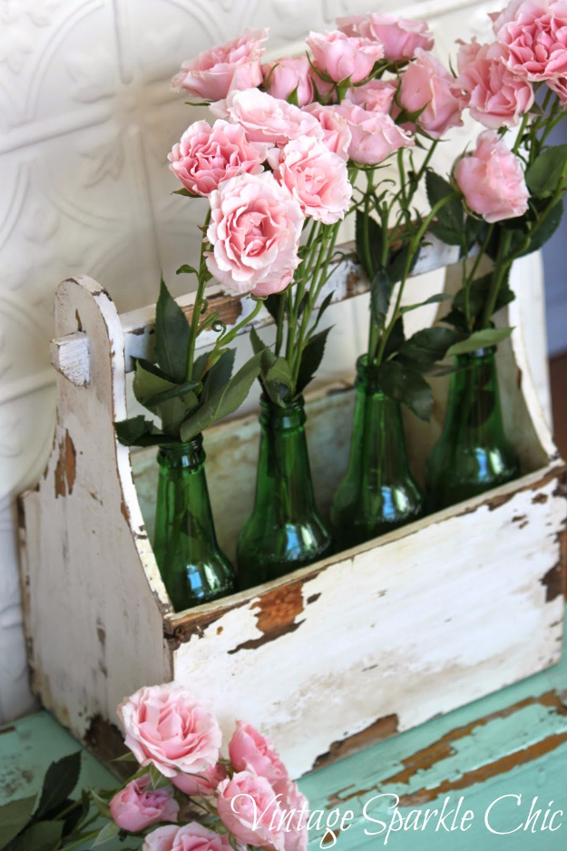 Shabby Chic Decor and Bedding Ideas - Pink Roses In Bottles - Rustic and Romantic Vintage Bedroom, Living Room and Kitchen Country Cottage Furniture and Home Decor Ideas. Step by Step Tutorials and Instructions http://diyjoy.com/diy-shabby-chic-decor-bedding