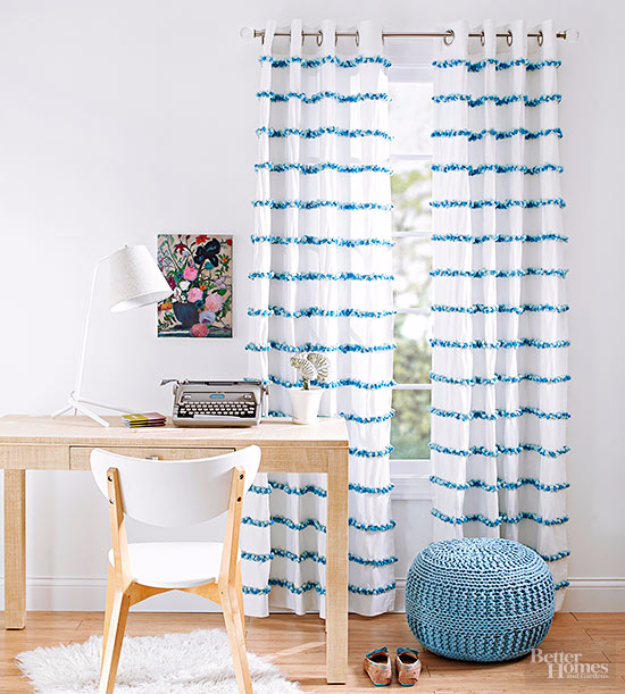 40 DIY Ways to Dress Up Boring Windows - Pom Pom Pep-Up Curtains - Cool Crafts and DIY Ideas to Make Awesome Bedrooms, Living Room Decor - Easy No Sew Ideas, Cheap Ideas for Makeovers, Painting and Sewing Tutorials With Step by Step Instructions for Awesome Home Decor http://diyjoy.com/diy-window-ideas