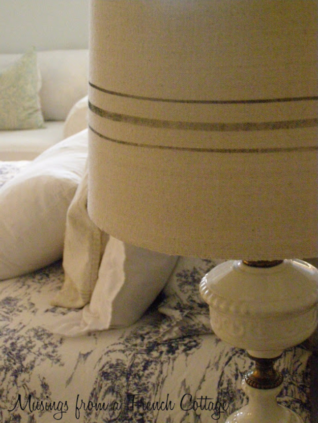 DIY Projects Made From Trash - Pottery Barn Inspired Grain Sack Lamp Shades - Cool Crafts and DIY Made from Upcycled Items You Don't Want To Throw Away. Home Decor, Gifts and Fun Ideas for Kids, Adults and Teens