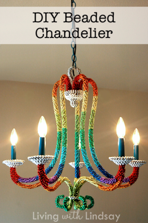 DIY Chandelier Ideas and Project Tutorials - Rainbow Beaded Chandelier - Easy Makeover Tips, Rustic Pipe, Crystal, Rustic, Mason Jar, Beads. Bedroom, Outdoor and Wedding Girls Room Lighting Ideas With Step by Step Instructions