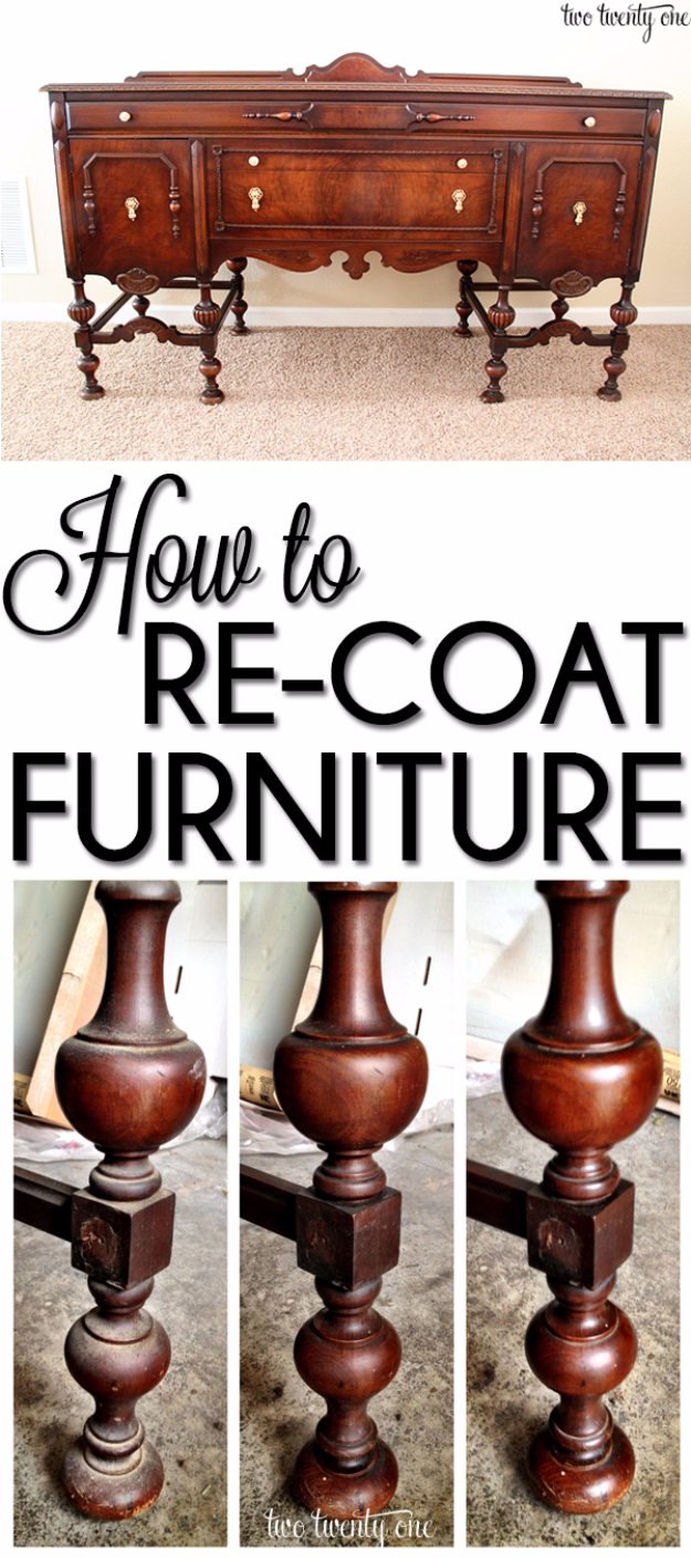 DIY Furniture Refinishing Tips - Re-Coating The Buffet - Creative Ways to Redo Furniture With Paint and DIY Project Techniques - Awesome Dressers, Kitchen Cabinets, Tables and Beds - Rustic and Distressed Looks Made Easy With Step by Step Tutorials - How To Make Creative Home Decor On A Budget http://diyjoy.com/furniture-refinishing-tips