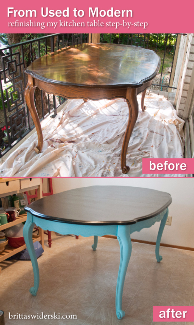DIY Furniture Refinishing Tips - Refinishing Used To Modern Dining Table - Creative Ways to Redo Furniture With Paint and DIY Project Techniques - Awesome Dressers, Kitchen Cabinets, Tables and Beds - Rustic and Distressed Looks Made Easy With Step by Step Tutorials - How To Make Creative Home Decor On A Budget