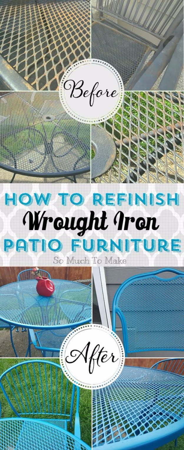 DIY Furniture Refinishing Tips - Refinishing Wrought Iron Patio Furnitures - Creative Ways to Redo Furniture With Paint and DIY Project Techniques - Awesome Dressers, Kitchen Cabinets, Tables and Beds - Rustic and Distressed Looks Made Easy With Step by Step Tutorials - How To Make Creative Home Decor On A Budget
