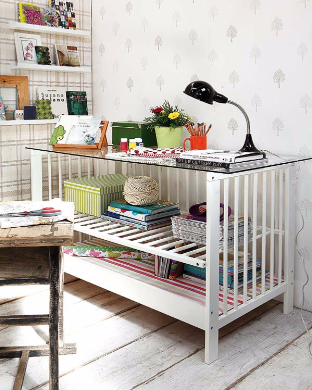 Upcycled Furniture Projects - Repurposed Crib Into A Desk - Repurposed Home Decor and Furniture You Can Make On a Budget. Easy Vintage and Rustic Looks for Bedroom, Bath, Kitchen and Living Room. #upcycled #diyideas #diyfurniture
