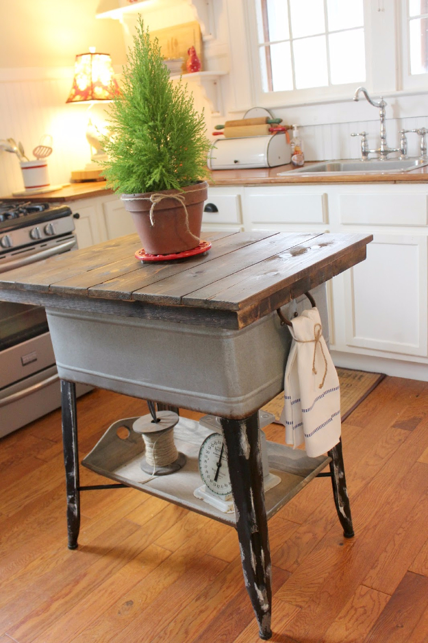 DIY Kitchen Makeover Ideas - Repurposed Wash Tub To Kitchen Island - Cheap Projects Projects You Can Make On A Budget - Cabinets, Counter Tops, Paint Tutorials, Islands and Faux Granite. Tutorials and Step by Step Instructions