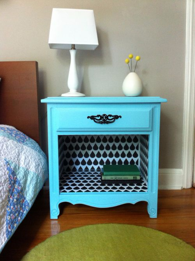 DIY Furniture Refinishing Tips - Revive A Bedside Table With Wall Decal - Creative Ways to Redo Furniture With Paint and DIY Project Techniques - Awesome Dressers, Kitchen Cabinets, Tables and Beds - Rustic and Distressed Looks Made Easy With Step by Step Tutorials - How To Make Creative Home Decor On A Budget