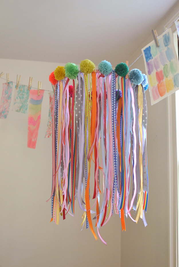 DIY Chandelier Ideas and Project Tutorials - Ribbon Chandelier - Easy Makeover Tips, Rustic Pipe, Crystal, Rustic, Mason Jar, Beads. Bedroom, Outdoor and Wedding Girls Room Lighting Ideas With Step by Step Instructions http://diyjoy.com/diy-chandelier-ideas