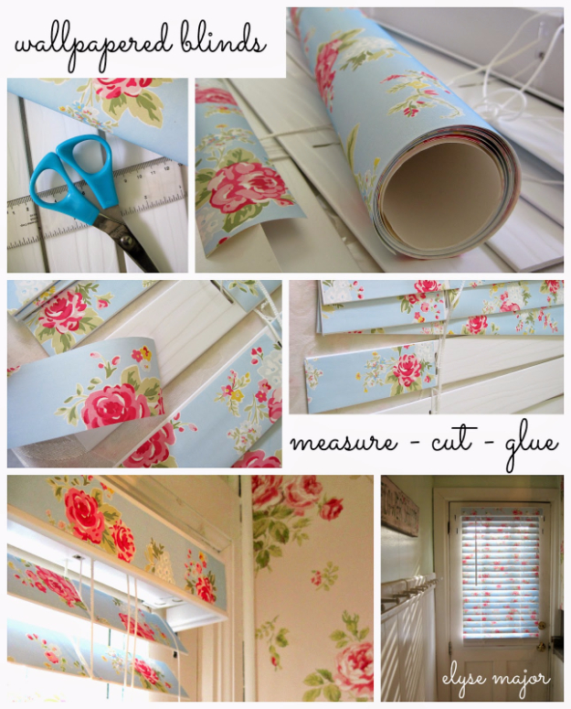 Shabby Chic Decor and Bedding Ideas - Romantic Wall Papered Blinds - Rustic and Romantic Vintage Bedroom, Living Room and Kitchen Country Cottage Furniture and Home Decor Ideas. Step by Step Tutorials and Instructions http://diyjoy.com/diy-shabby-chic-decor-bedding