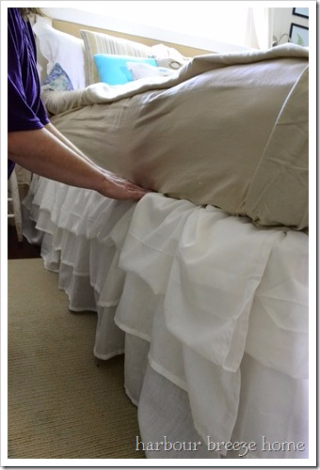 Shabby Chic Decor and Bedding Ideas - Ruffled Bedskirt - Rustic and Romantic Vintage Bedroom, Living Room and Kitchen Country Cottage Furniture and Home Decor Ideas. Step by Step Tutorials and Instructions http://diyjoy.com/diy-shabby-chic-decor-bedding