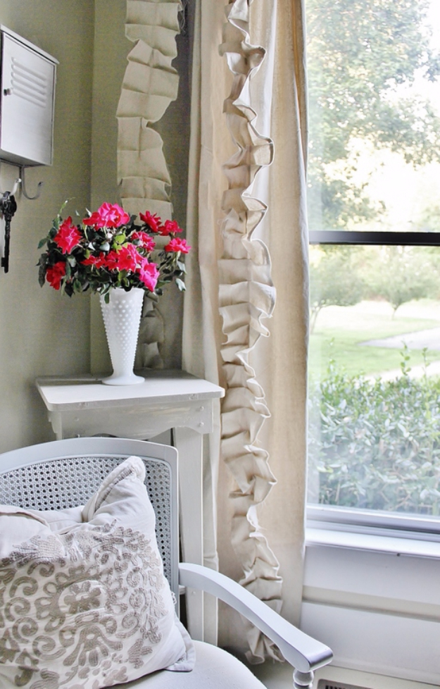40 DIY Ways to Dress Up Boring Windows - Ruffled Drop Cloth Curtains - Cool Crafts and DIY Ideas to Make Awesome Bedrooms, Living Room Decor - Easy No Sew Ideas, Cheap Ideas for Makeovers, Painting and Sewing Tutorials With Step by Step Instructions for Awesome Home Decor