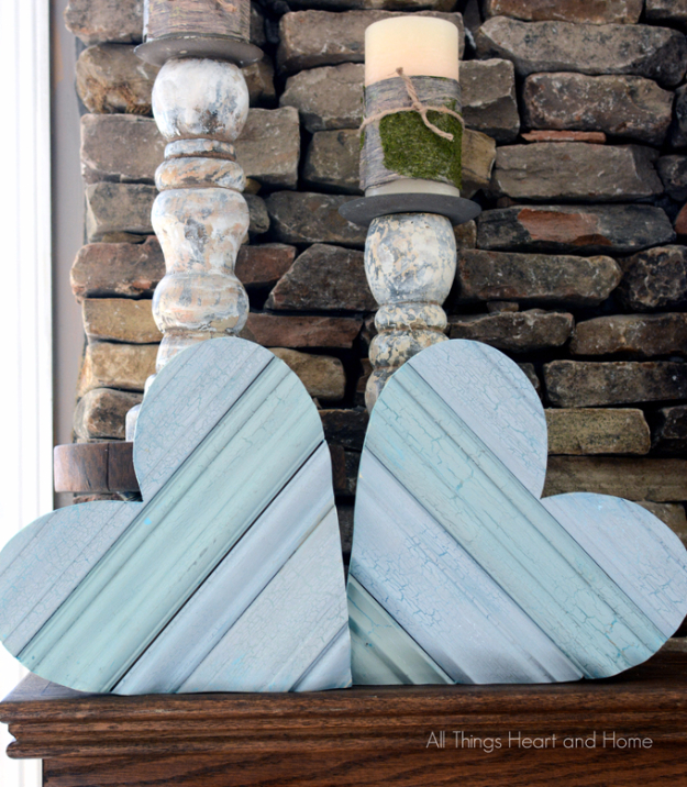 Shabby Chic Decor and Bedding Ideas - Scrap Wood Hearts - Rustic and Romantic Vintage Bedroom, Living Room and Kitchen Country Cottage Furniture and Home Decor Ideas. Step by Step Tutorials and Instructions http://diyjoy.com/diy-shabby-chic-decor-bedding