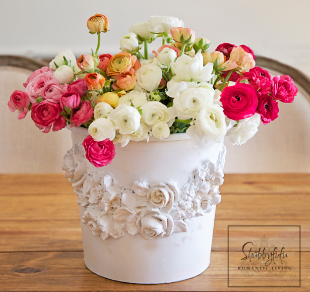 Shabby Chic Decor and Bedding Ideas - Shabby Chic Florist Bucket - Rustic and Romantic Vintage Bedroom, Living Room and Kitchen Country Cottage Furniture and Home Decor Ideas. Step by Step Tutorials and Instructions http://diyjoy.com/diy-shabby-chic-decor-bedding