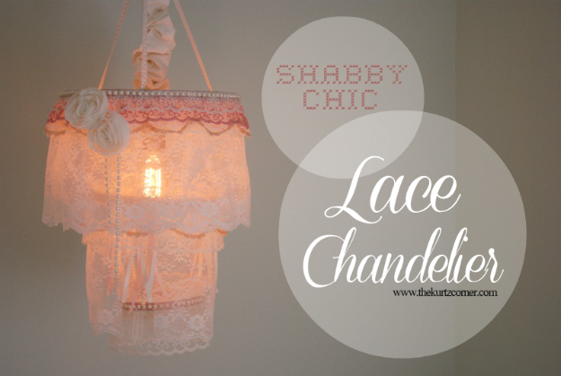 DIY Chandelier Ideas and Project Tutorials - Shabby Chic Lace Chandelier - Easy Makeover Tips, Rustic Pipe, Crystal, Rustic, Mason Jar, Beads. Bedroom, Outdoor and Wedding Girls Room Lighting Ideas With Step by Step Instructions