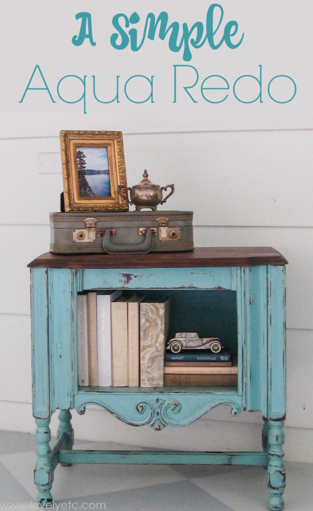 DIY Furniture Refinishing Tips - Simple Aqua Redo - Creative Ways to Redo Furniture With Paint and DIY Project Techniques - Awesome Dressers, Kitchen Cabinets, Tables and Beds - Rustic and Distressed Looks Made Easy With Step by Step Tutorials - How To Make Creative Home Decor On A Budget