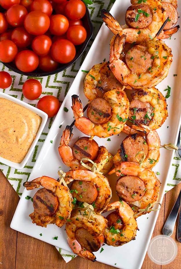 Best Recipes for a Backyard Barbecue - Spicy Shrimp And Sausage Skewers - Best Cheap, Easy and Quick Recipes Ideas for Awesome Cookouts. Outdoor BBQ and Party Foods You Can Make for A Crowd http://diyjoy.com/best-bbq-recipes