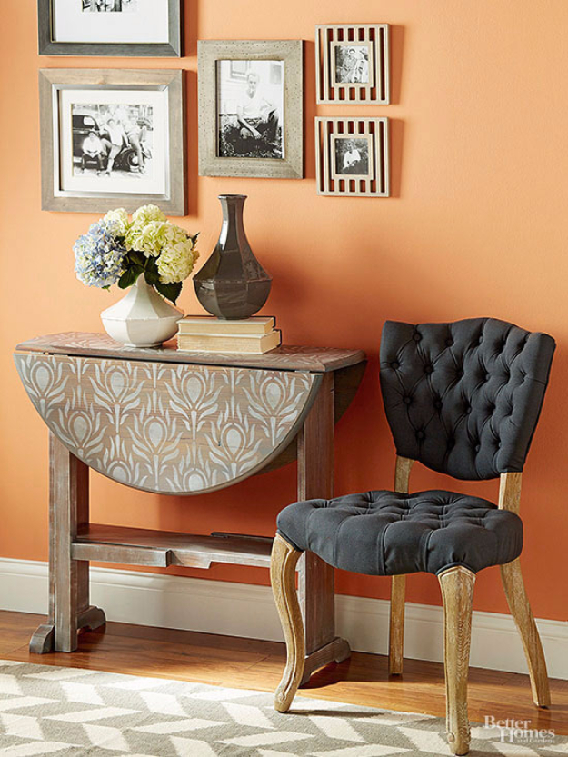 DIY Furniture Refinishing Tips - Stain And Stencil A Table - Creative Ways to Redo Furniture With Paint and DIY Project Techniques - Awesome Dressers, Kitchen Cabinets, Tables and Beds - Rustic and Distressed Looks Made Easy With Step by Step Tutorials - How To Make Creative Home Decor On A Budget