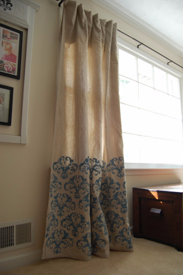 50 DIY Curtains and Drapery Ideas - Stenciled Drop Cloth Curtains - Easy No Sew Ideas and Step by Step Tutorials for Drapes and Curtain Ideas - Cheap and Creative Projects for Bedroom, Living Room, Kitchen, Kids and Teen Rooms - Simple Draperies for Fabric, Made Out of Sheets, Blackout Curtains and Valances #sewing #diydecor #drapes #decoratingideas