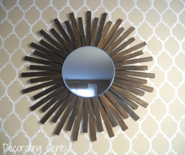 DIY Projects Made From Trash - Stirrers Sunburst Mirror - Cool Crafts and DIY Made from Upcycled Items You Don't Want To Throw Away. Home Decor, Gifts and Fun Ideas for Kids, Adults and Teens