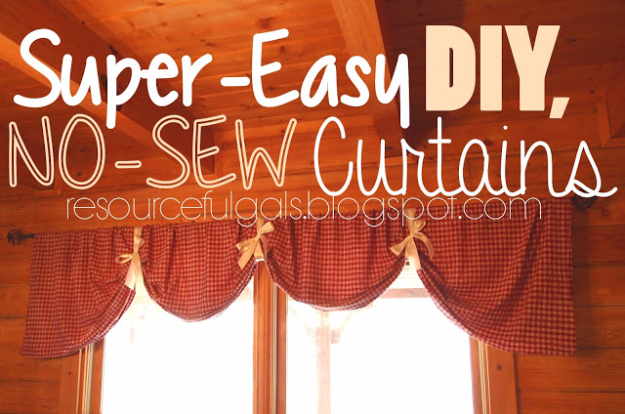 50 DIY Curtains and Drapery Ideas - Super Easy No Sew DIY Curtains - Easy No Sew Ideas and Step by Step Tutorials for Drapes and Curtain Ideas - Cheap and Creative Projects for Bedroom, Living Room, Kitchen, Kids and Teen Rooms - Simple Draperies for Fabric, Made Out of Sheets, Blackout Curtains and Valances #sewing #diydecor #drapes #decoratingideas