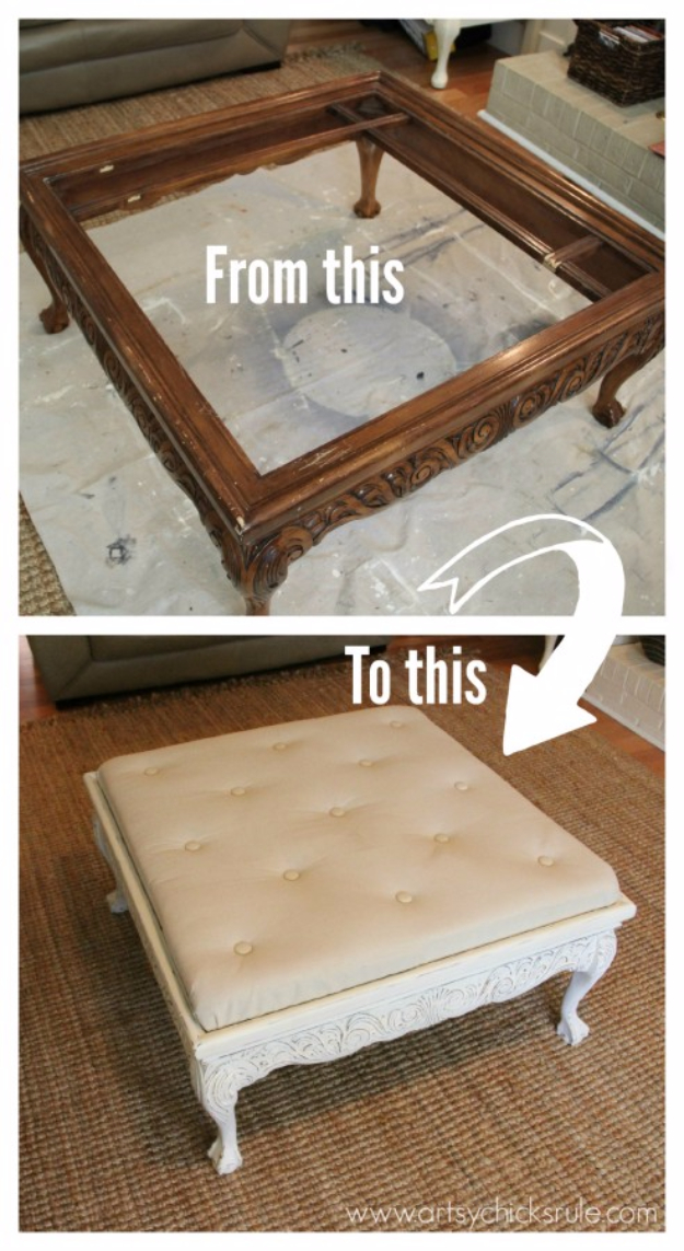 DIY Furniture Refinishing Tips - Thrift Store Coffee Table Turned Tufted Ottoman DIY - Creative Ways to Redo Furniture With Paint and DIY Project Techniques - Awesome Dressers, Kitchen Cabinets, Tables and Beds - Rustic and Distressed Looks Made Easy With Step by Step Tutorials - How To Make Creative Home Decor On A Budget