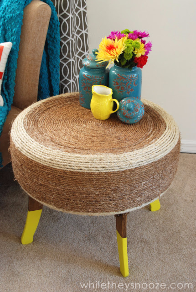 DIY Projects Made From Trash - Trash Pile Tire Trendy Table - Cool Crafts and DIY Made from Upcycled Items You Don't Want To Throw Away. Home Decor, Gifts and Fun Ideas for Kids, Adults and Teens