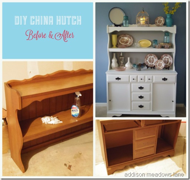 Upcycled Furniture Projects - Upcycled China Hutch - Repurposed Home Decor and Furniture You Can Make On a Budget. Easy Vintage and Rustic Looks for Bedroom, Bath, Kitchen and Living Room. #upcycled #diyideas #diyfurniture