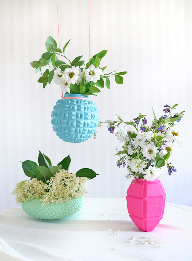 DIY Projects Made From Trash - Upcycled Lampshade Vases - Cool Crafts and DIY Made from Upcycled Items You Don't Want To Throw Away. Home Decor, Gifts and Fun Ideas for Kids, Adults and Teens - Plastic Bottle, Bag Craft Ideas