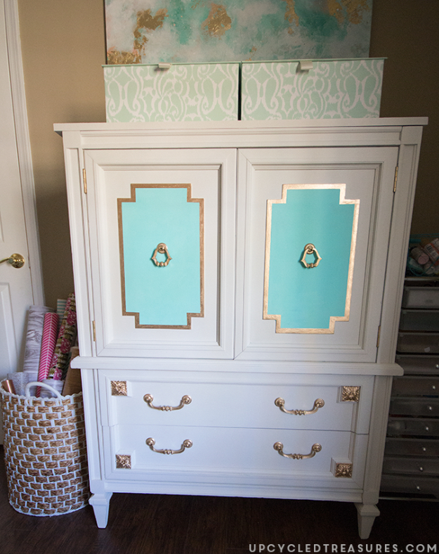 Upcycled Furniture Projects - Upcycled Mid Century Armoire - Repurposed Home Decor and Furniture You Can Make On a Budget. Easy Vintage and Rustic Looks for Bedroom, Bath, Kitchen and Living Room. #upcycled #diyideas #diyfurniture