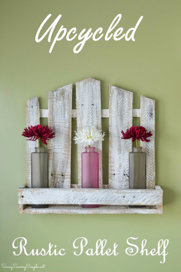 DIY Projects Made From Trash - Upcycled Rustic Pallet Shelf - Cool Crafts and DIY Made from Upcycled Items You Don't Want To Throw Away. Home Decor, Gifts and Fun Ideas for Kids, Adults and Teens http://diyjoy.com/diy-projects-made-from-trash