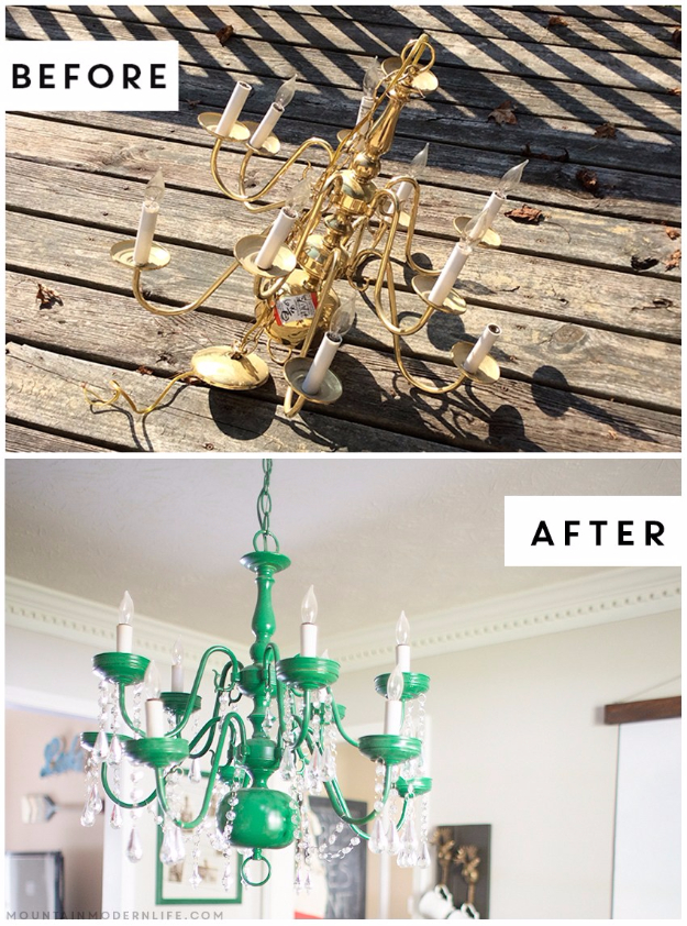 DIY Chandelier Ideas and Project Tutorials - Upcycled Vintage Inspired Chandelier - Easy Makeover Tips, Rustic Pipe, Crystal, Rustic, Mason Jar, Beads. Bedroom, Outdoor and Wedding Girls Room Lighting Ideas With Step by Step Instructions