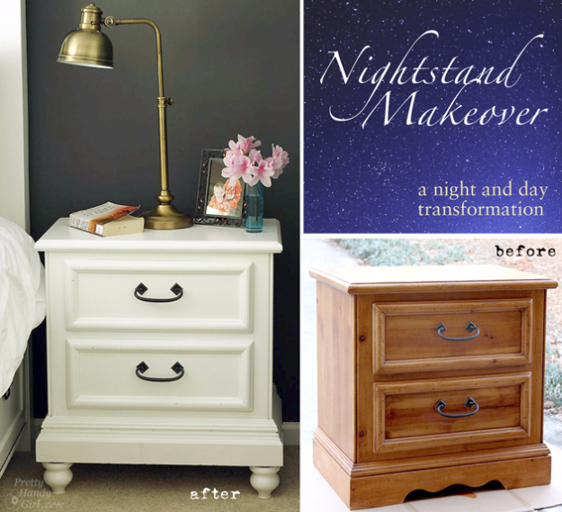 DIY Furniture Refinishing Tips - Updating A Nighstand - Creative Ways to Redo Furniture With Paint and DIY Project Techniques - Awesome Dressers, Kitchen Cabinets, Tables and Beds - Rustic and Distressed Looks Made Easy With Step by Step Tutorials - How To Make Creative Home Decor On A Budget