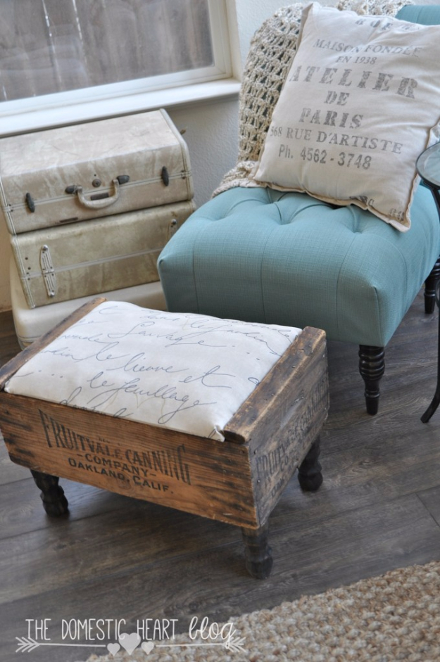 Shabby Chic Decor and Bedding Ideas - Vintage Crate DIY Footstool - Rustic and Romantic Vintage Bedroom, Living Room and Kitchen Country Cottage Furniture and Home Decor Ideas. Step by Step Tutorials and Instructions http://diyjoy.com/diy-shabby-chic-decor-bedding