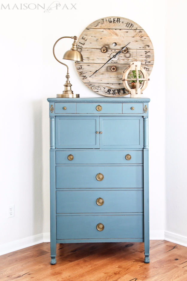 DIY Furniture Refinishing Tips - Vintage Dresser Painted Blue - Creative Ways to Redo Furniture With Paint and DIY Project Techniques - Awesome Dressers, Kitchen Cabinets, Tables and Beds - Rustic and Distressed Looks Made Easy With Step by Step Tutorials - How To Make Creative Home Decor On A Budget