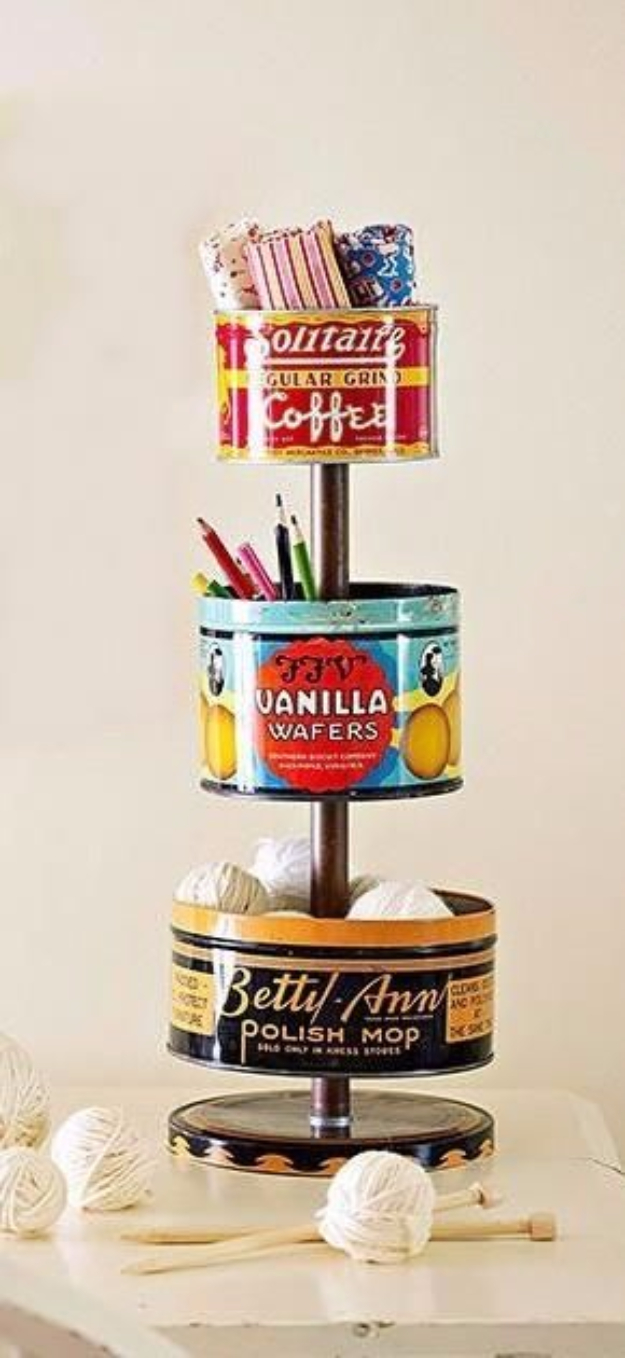 DIY Projects Made From Trash - Vintage Tin Crafts Supplies Organizers - Cool Crafts and DIY Made from Upcycled Items You Don't Want To Throw Away. Home Decor, Gifts and Fun Ideas for Kids, Adults and Teens
