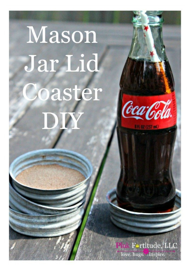 DIY Projects Made From Trash - Vintage Zinc Mason Jar Lid Coaster DIY - Cool Crafts and DIY Made from Upcycled Items You Don't Want To Throw Away. Home Decor, Gifts and Fun Ideas for Kids, Adults and Teens