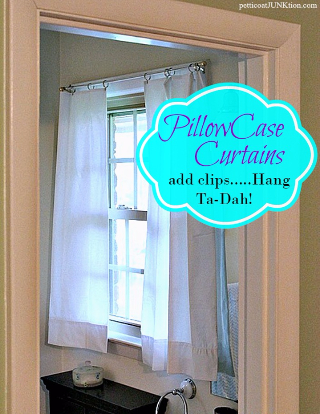 50 DIY Curtains and Drapery Ideas - White Pillowcase Curtains - Easy No Sew Ideas and Step by Step Tutorials for Drapes and Curtain Ideas - Cheap and Creative Projects for Bedroom, Living Room, Kitchen, Kids and Teen Rooms - Simple Draperies for Fabric, Made Out of Sheets, Blackout Curtains and Valances #sewing #diydecor #drapes #decoratingideas